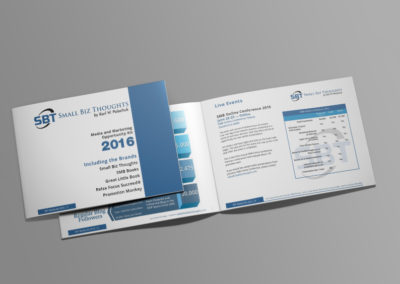 Small Biz Thoughts media kit page layout by Sacramento Graphic Designer Ruben Young